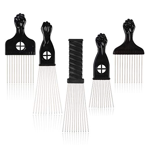 (Folansy 5 Pcs Afro Comb Metal African American Pick Comb Hairdressing Styling Tool Hair Pick for Hair Styling)