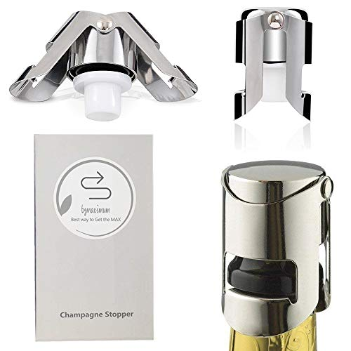 Champagne Sealer Stopper, BGMAX 3 Pack Stainless Steel Sparkling Wine Bottle Plug Sealer Set with a Longer Sealing Plug, Gifts Accessories for Champagne ()
