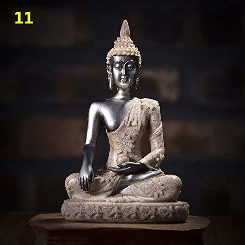 (Kiartten Buddha Statue - 11 Style Miniature Buddha Statue Nature Sandstone Fengshui Thailand Buddha Sculpture Hindu Figurine Home Decorative Ornament 15)
