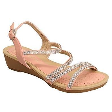 1b24c67d4cf44 Kelsi Ladies Wedge Diamante Sandals Womens Flat Open Toe Buckle Summer Shoes