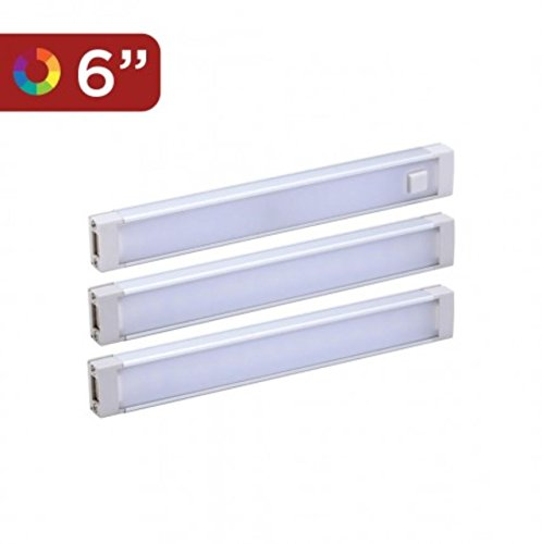 Black and Decker LEDUC6-3RGBK Color Changing LED Under Cabinet Lighting Kit, Stick up Design, 3-Bars, 6