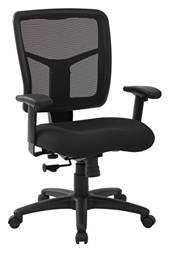 Office Star Mesh Back and Dove Fabric Seat Managers Chair with Adjustable Arms, Black