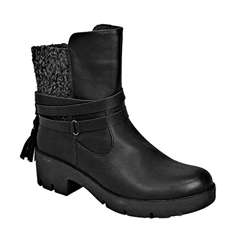 Aaishaz 786 Sexy Ladies Winter Low Chunky Heel Chelsea Ankle Tassel Boots CW17077 Party Shoe (UK 4, Black)