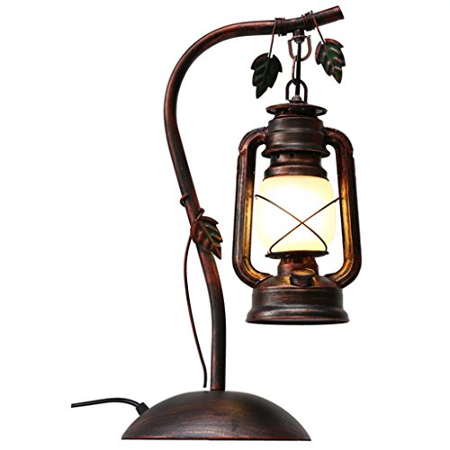 Retro Creative Iron Lantern Kerosene Table Lamp Glass LampShade Push Button  Switch Reading Light For Bedroom