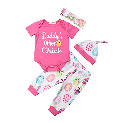 Newborn Infant My First Easter Outfit Baby Girl Boy Bunny Onesie Bodysuit Tops+Eggs Pants Hat Clothes Set Pink]()