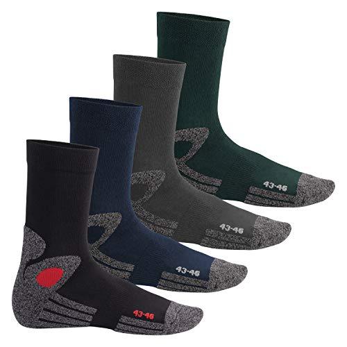 Celodoro Damen und Herren Trekking-Socken (4 Paar), Arbeitssocken mit Frotteesohle