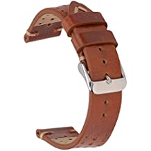 EACHE 22mm Genuine Racing Leather Watch Band,Holes Version Breathable Watch Strap in Oil Red Brown