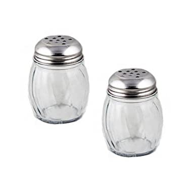 Update International SK-RPF New 6 oz. Swirl Glass Cheese Shaker, Pepper Spice Shaker with Perforated Stainless Steel Lid (Pack of 2)