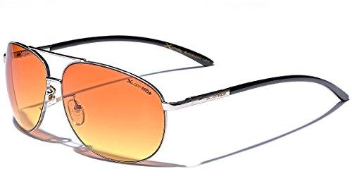 X-Loop HD Vision High Definition Lens Aviator Sunglasses wth Spring Hinge