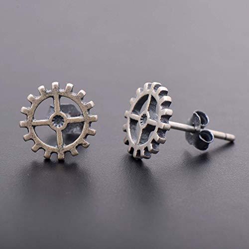 925 Sterling Silver Steampunk Style Gear Earrings - Gear Stud