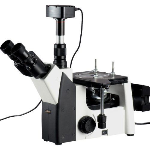 50X-1000X Inverted Metallurgical Microscope + 10MP Camera Windows & Mac SO X by AmScope