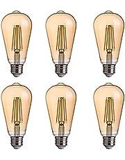 FLSNT ST58/ST19 LED Edison Bulb 40W Equivalent,E27 Base,2700K Soft White Lighting,330LM,Non-Dimmable,4W,Amber Glass,6 Pack