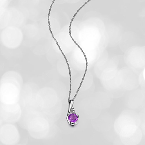 - Sterling Silver Genuine African Amethyst Drop Pendant Necklace, 18