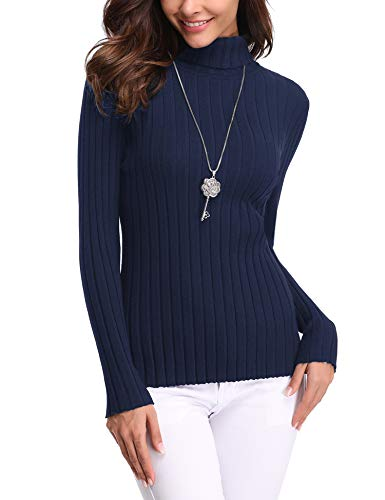 Abollria Women's Long Sleeve Solid Lightweight Soft Knit Mock Turtleneck Sweater Tops Pullover Navy Blue