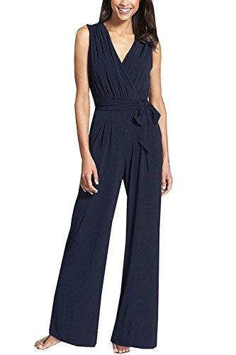Manches Combinaison Base Femmes Été Élégante Mode Robes Salopette Large Unicolor Party Long V Sans De Blau Col En Vêtements PqTxw6