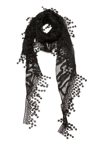 Cindy & Wendy Lightweight Triangle Floral Fashion Lace Fringe Scarf Wrap for Women