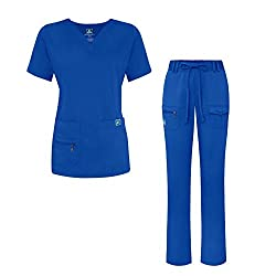 Adar Indulgence Jr. Fit Women's Scrub Set - Enhanced V-neck Topmulti Pocket Pants - 4400 - Royal Blue - S