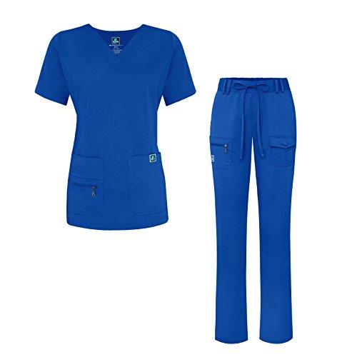 Adar Indulgence Jr. Fit Women's Scrub Set - Enhanced V-Neck Top/Multi Pocket Pants - 4400 - Royal Blue - 3X