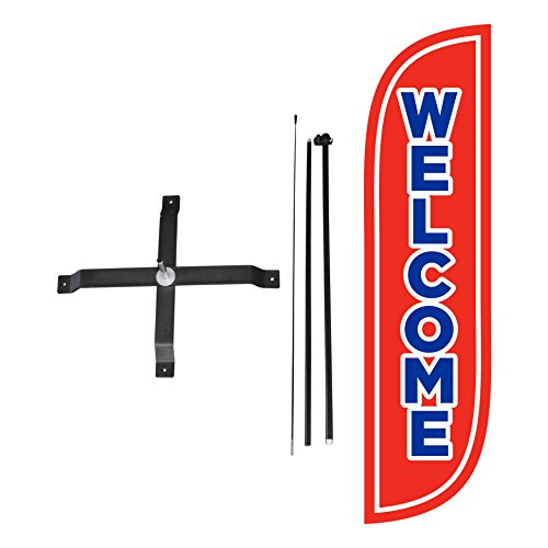 LookOurWay Welcome Red Feather Flag Complete Set with Poles & X-Stand, 5-Feet