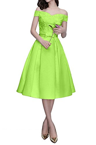 Knielang Marie Braut mit Gruen Partykleider Brautmutterkleider Kurzarm Lemon Orange Abendkleider La Spitze Schulterfrei dBtqzxtw5