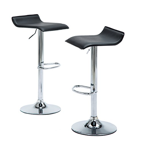 Modern Bar Stools for Kitchen Counter, Chrome Finish Black PU Leather Dining Bar Chairs, Height Adjustable Backless Swivel Barstools Set Of 2 Chrome Dining Room Bar Stool