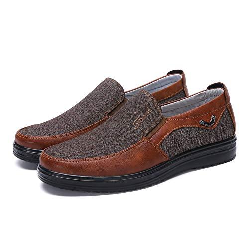 Men's Loafer Slip On Shoes Work Walking Anti-Skid Suede Polyurethane Soft Bottom Light Breathable Large Size 12.5(7 M US,24.5 cm Heel to Toe