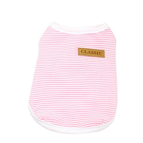 Striped Side Label - Howstar Pet Shirt, Dog Cat Clothes Puppy Classic Vest Striped T-Shirt Pet Summer Apparel (Pink, S)