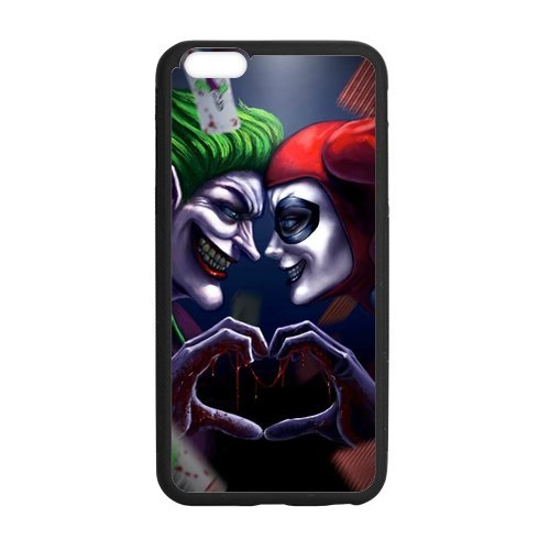 LeonardCustom Durable Protective Hard TPU Rubber Coated Cover Case for iPhone 6 Plus & iPhone 6S Plus, Batman Joker and Harley Quinn -LCI6PU778