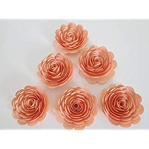 """Pretty Peach Roses, Set of 6, Big 3"""" Handmade Paper Flowers, Baby Shower Table Decor, Wedding Decorations, Event Planning Decorating Ideas 42"""