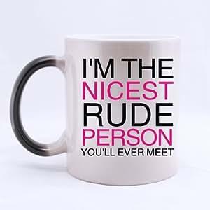 Texto de la taza - Hipster soy la mejor taza de café o groseros persona Morphing de la taza de té - 11 onzas