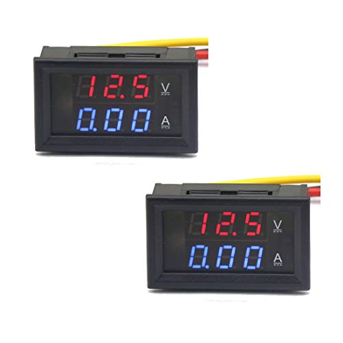 HiLetgo 2pcs Accurate Voltmeter Ammeter DC0-100V Voltage 10A Current Meter 2-in-1 Digital Multimeter 10A Volt Amp Tester Meter with 5 Wires 0.28