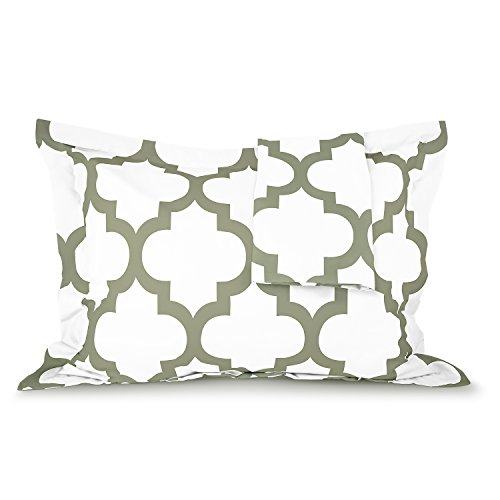 Sleep Restoration Quatrefoil Shams 2-Pack - Luxurious Soft Brushed Microfiber Pillow Covers to Match the Sleep Restoration Quatrefoil Comforter Set - Full/Queen - Sage (Sage Green Comforter Set)