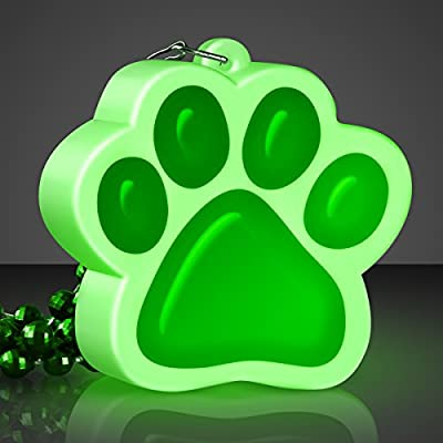 FlashingBlinkyLights Light Up Green Paw Print Charm Necklace: Toys & Games