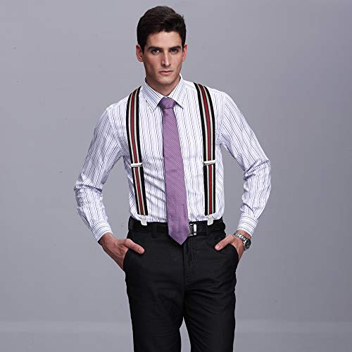 50MM Striped Elastic and Adjustable Men Trouser Braces Suspender X Shape with