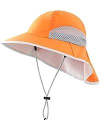 Connectyle Kids Wide Brim Neck Flap Sun Protection Hat Mesh Vent Bucket Sun Hat (Orange)
