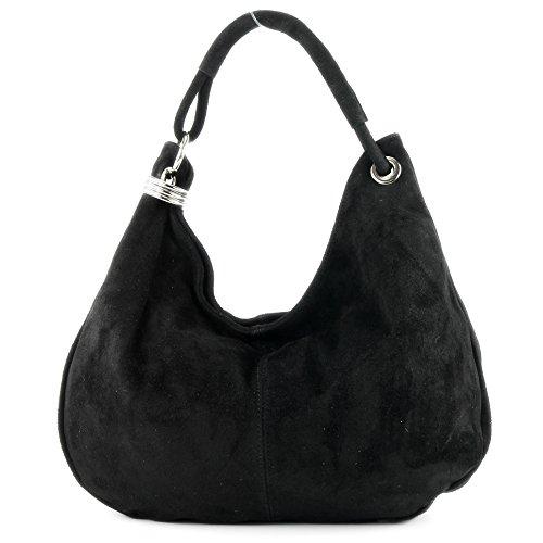 Borsa a mano borsa a tracolla shopping bag donna in vera pelle italiana T02, Präzise Farbe (nur Farbe):Schwarz