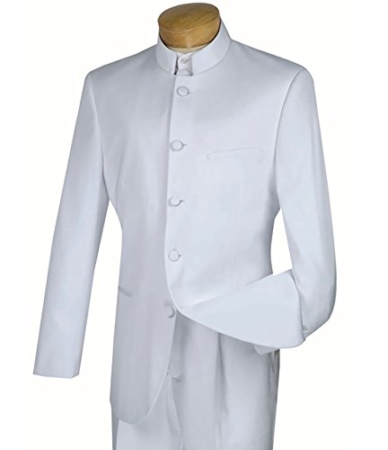 - VINCI Men's 5 Button Mandarin Banded Collar Classic-Fit Tuxedo Suit New [Color White | Size: 48 Regular/43 Waist]