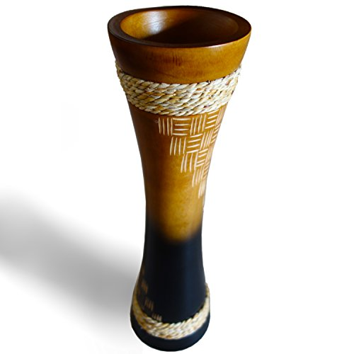 Etched Floral Vase - RoRo 14 Inch Hand-Crafted Two-Tone Tan Black Mango Wood Vase with Etchings