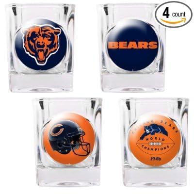 Chicago Bears 4 Piece Square Shot Glass Set w//Individual Logos