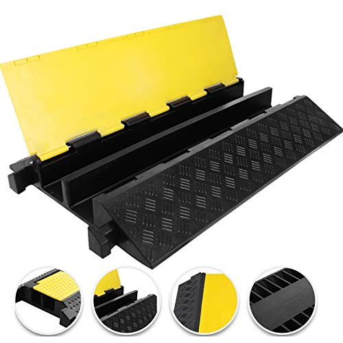 Happybuy Large 2-Channel Cable Protectors Rubber Cable Ramps 66000lbs per Axle Capacity Protective Cable Wire Cord Ramp Driveway Rubber Traffic Speed Bumps Cable Protector (2-Channel, 1Pack/66000Lbs)
