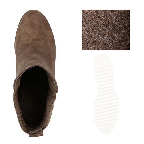Stiefelparadies Damen Chelsea Boots Leicht Gefütterte Stiefeletten Wedges Plateau Vorne Keilabsatz Schuhe Knöchelhohe Stiefel Profil Flandell Khaki Kroko