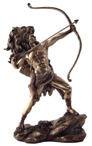 Hercules Statue, Greek God Heracles, Shooting Arrow, Wearing Nemean Lion Skin
