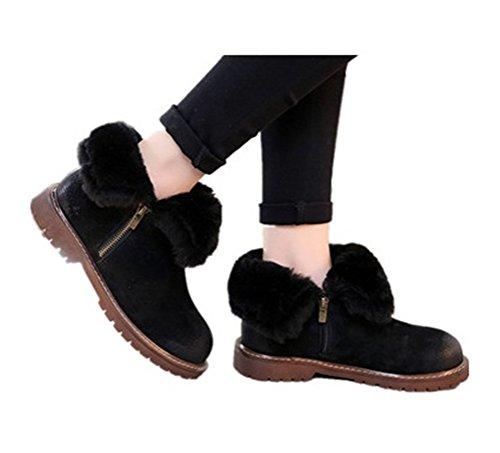 Toujours Jolie Plate-forme Plate Femmes Chaussures Dhiver Fourrure Doublée Bottes De Neige Noir