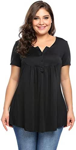 Women Plus Size Tunic Tops Short Sleeve Shirts Tees…