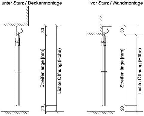 Rideau /à lani/ères en PVC Rideau industriel /à lani/ères 3x300mm transparent compl/ètement pr/é-assembl/é r/ésistant aux intemp/éries protection contre les /&eacu rails de montage galvanis/és