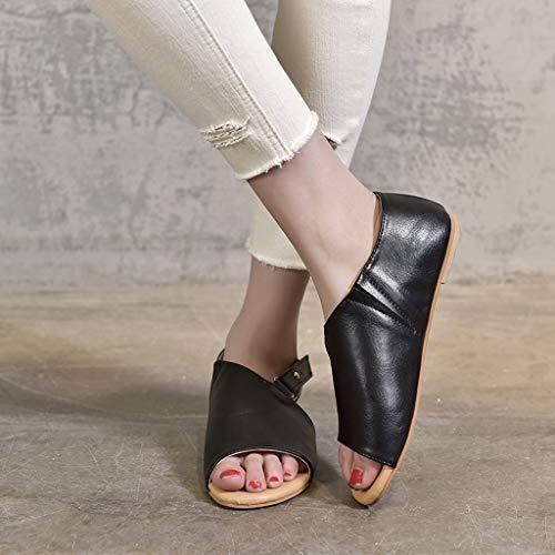plateau plates noir été ouvert Waitfor Sandales Woman bout élégante cuir basse en Summer en avec à qwS6wZt