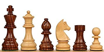 Wigano 3inch King Size Wooden Weighted Chess Pieces with (2 Extra Queen and Storage Bag) Figurine Chess Pieces