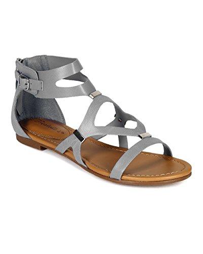 Breckelles Cb02 Kvinner Leather Strappy Kutte Ut Flat Gladiator Sandaler - Lyseblå