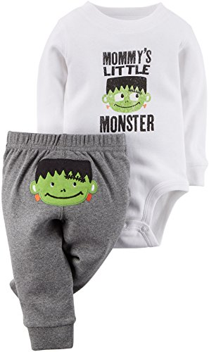 Carters Baby Clothing Outfit Boys Halloween Bodysuit & Pant Set Little Monster White 3M (Boys Halloween Clothes)