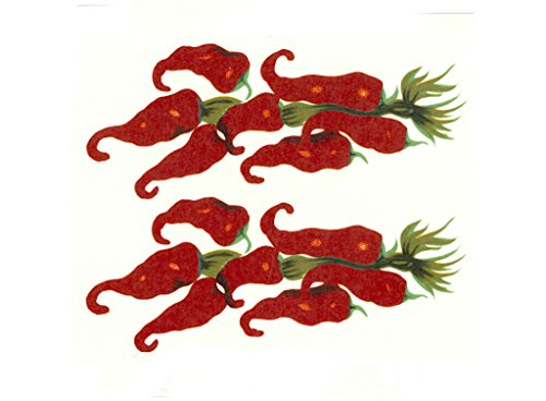 """5659 Recipes, Sombrero and Chili Peppers Waterslide Ceramic Decals By The Sheet (3"""" X 1"""" 40 pcs)"""